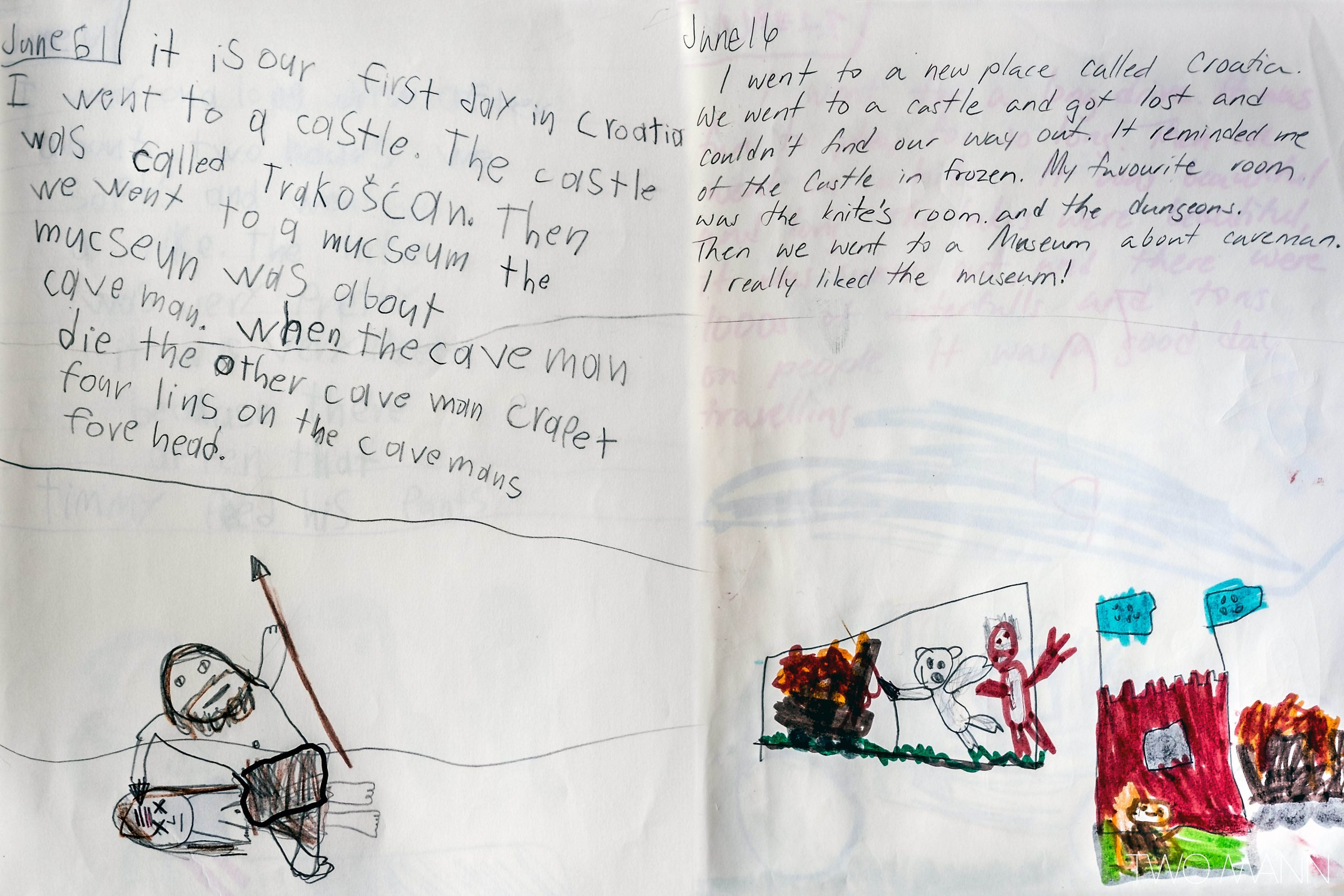 Child's journal entry of trip to Croatia