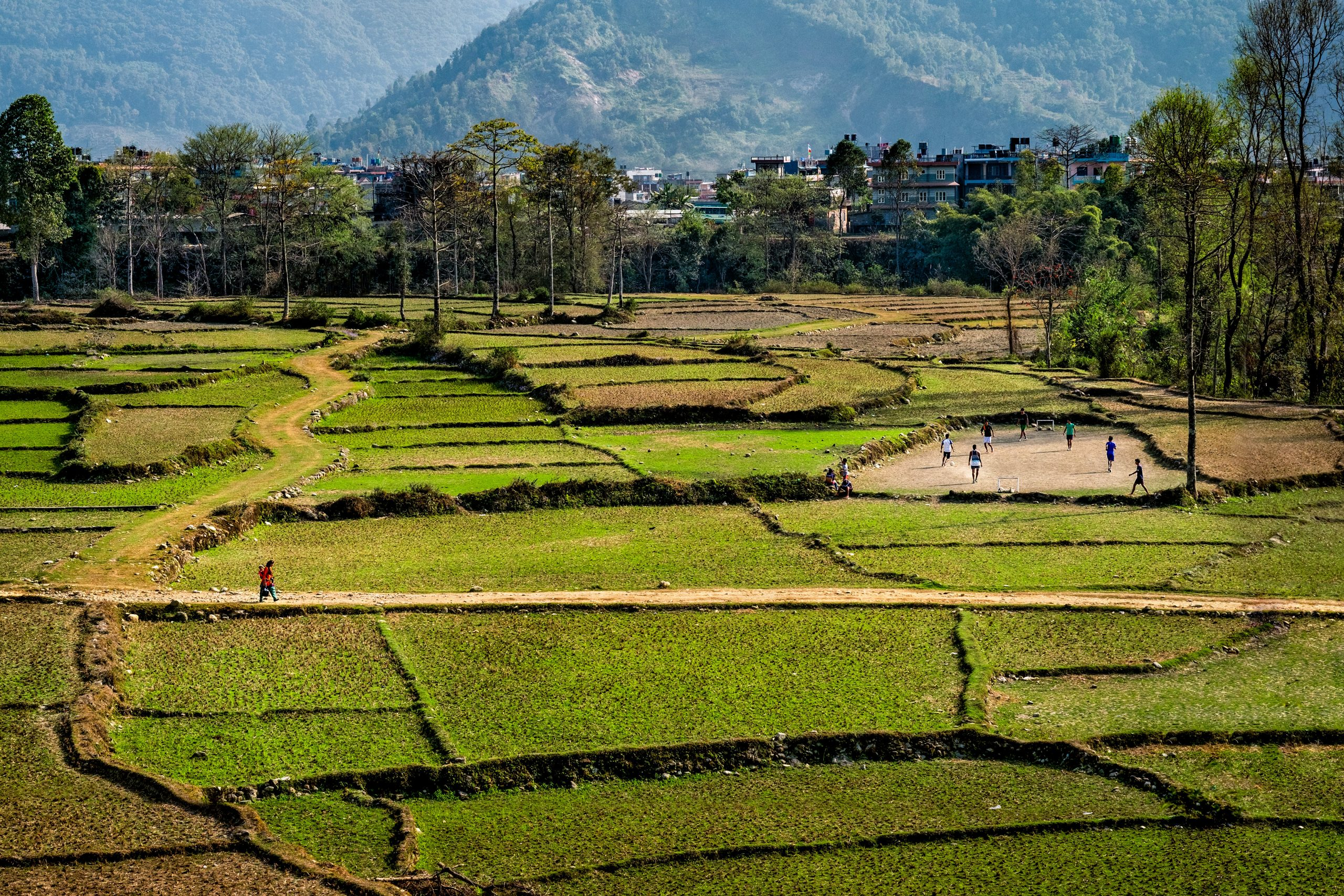 Nepalese farm land and locals playing soccer in the middle