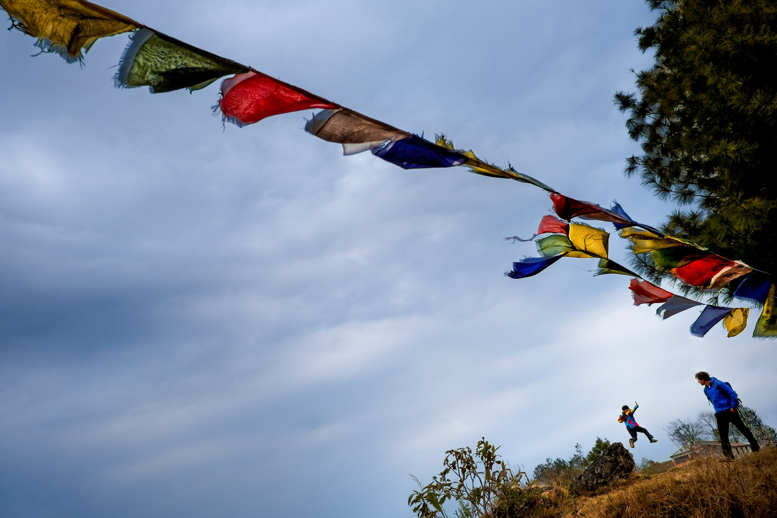 Traditional Nepalese flags hang on a rope