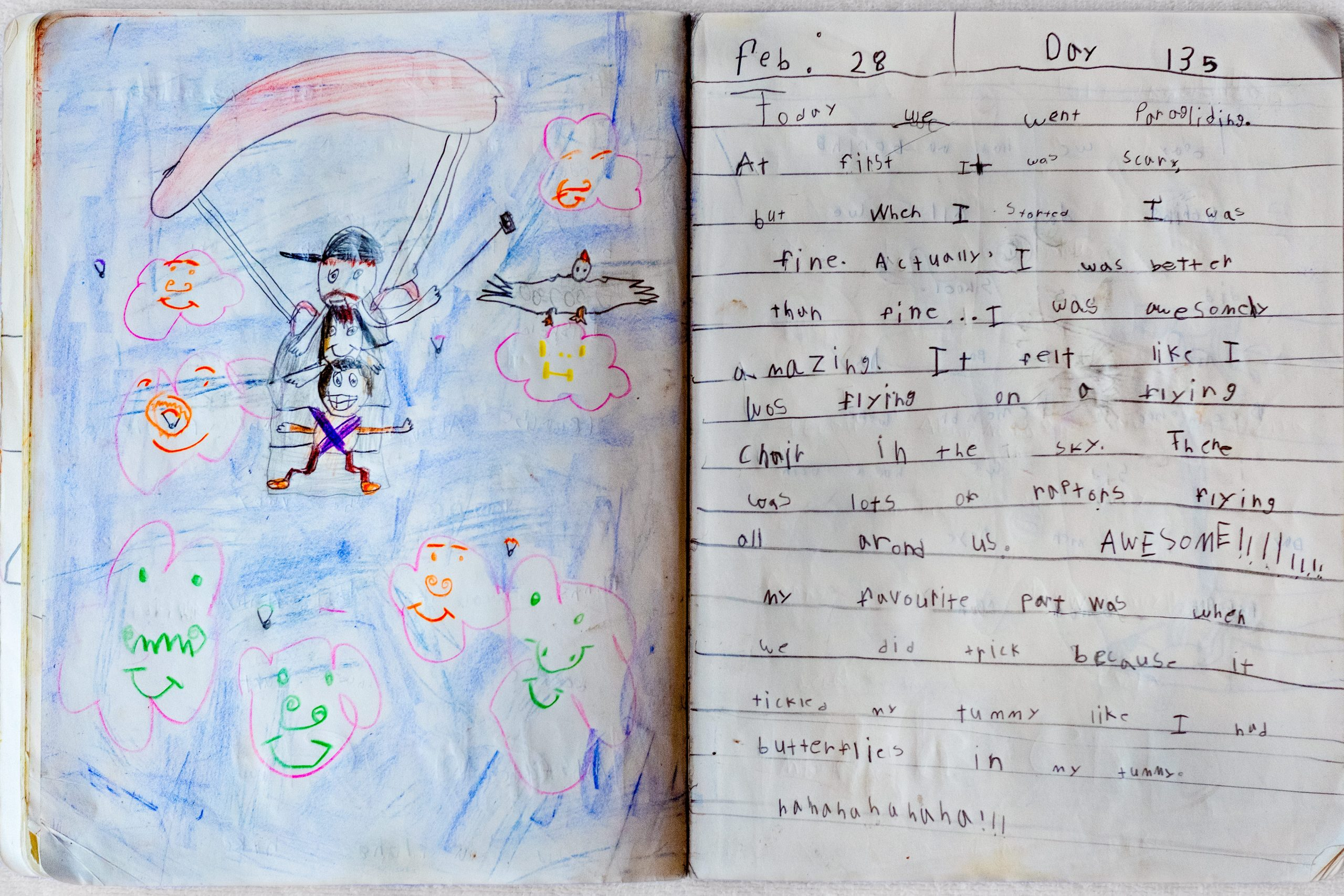 Journal with child's sketches of Nepal