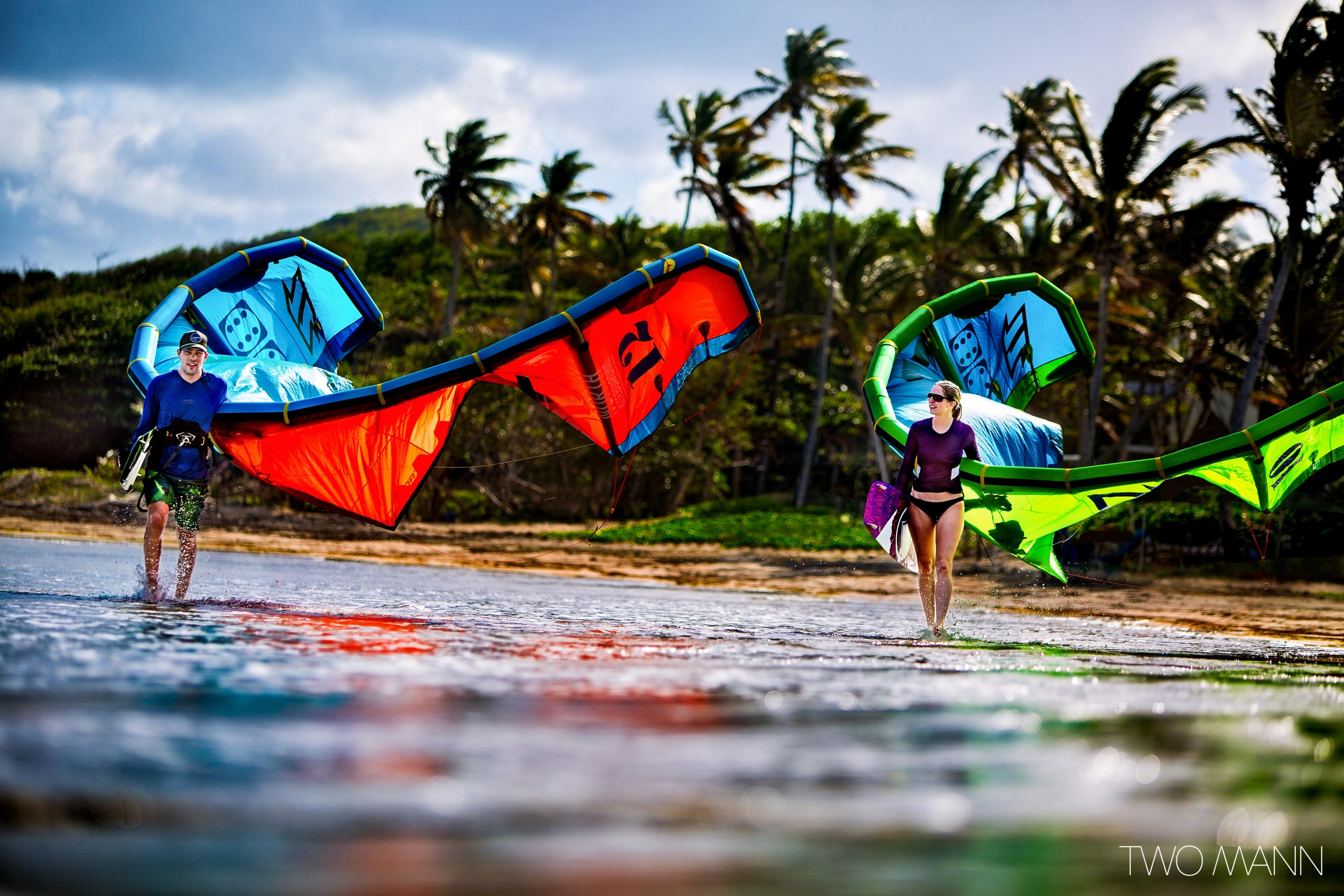bride and groom going for kite-surfing in St. Lucia