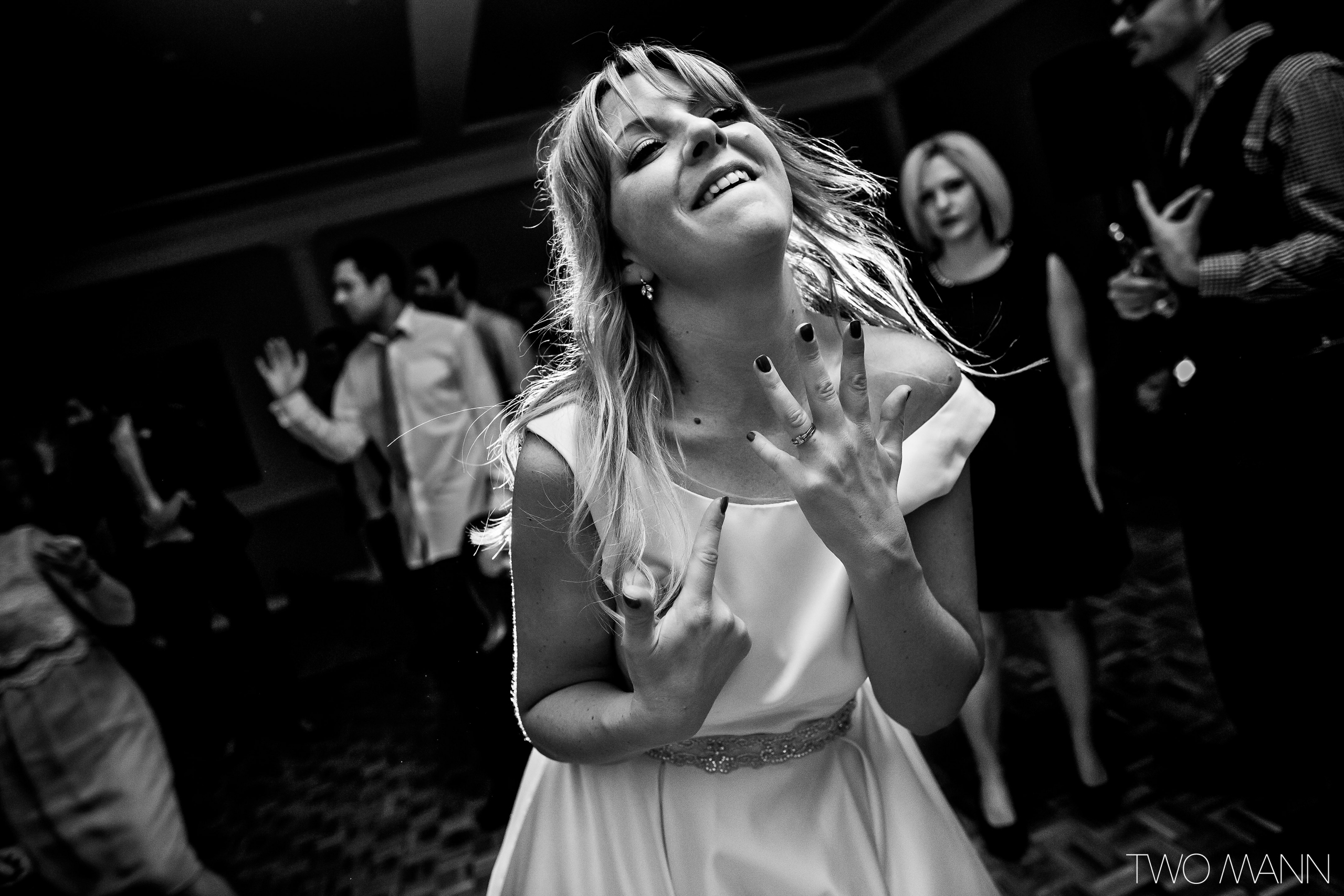 happy bride hitting the dance floor