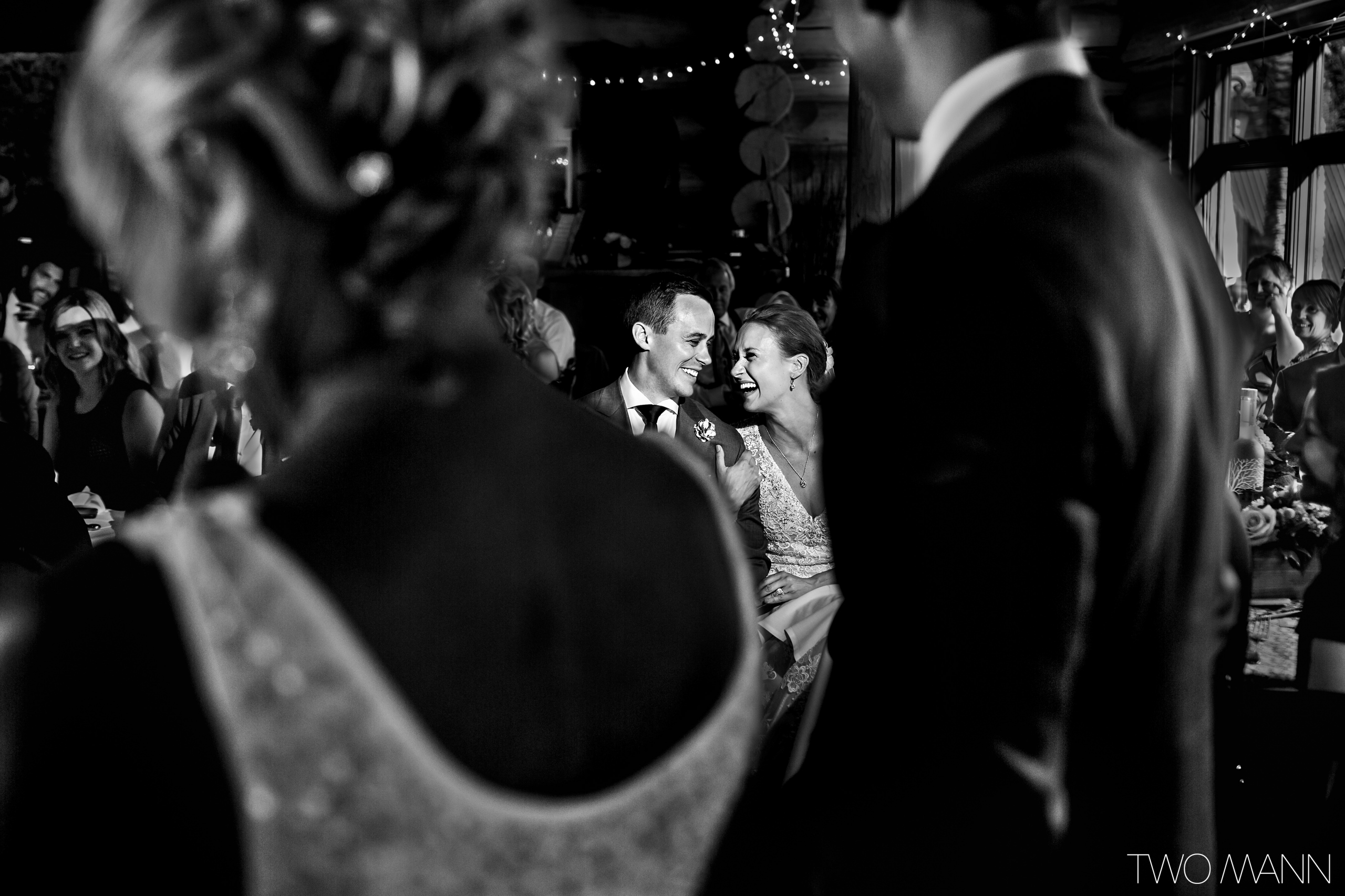 bridal couple's happy moment at reception