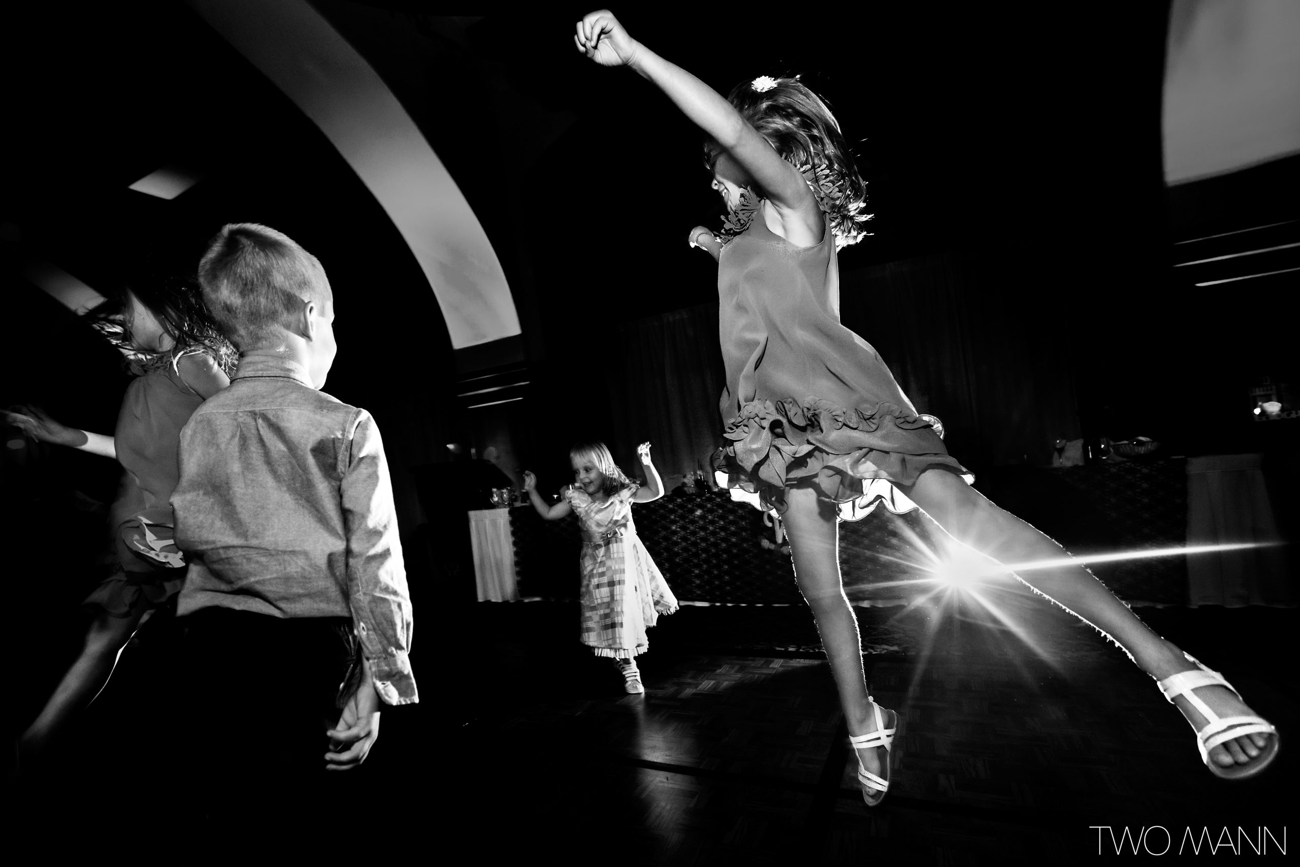 kids hitting the dance floor at reception