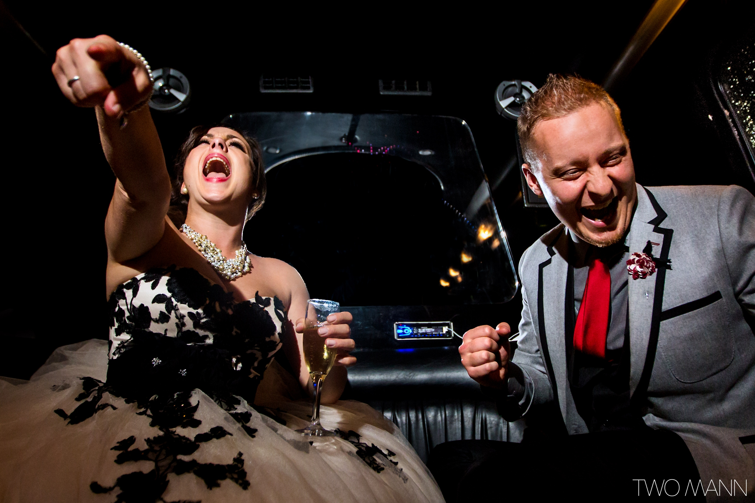 newlyweds' intimate wedding celebration in a limo