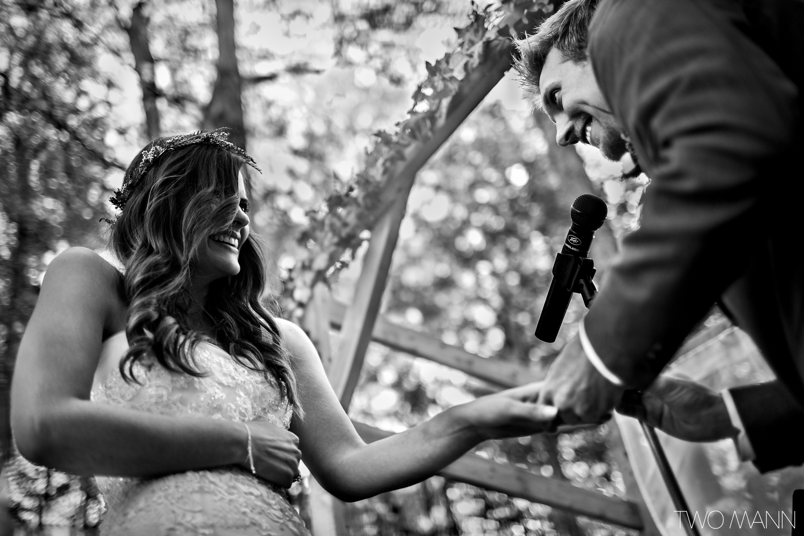 a groom putting ring on bride's finger
