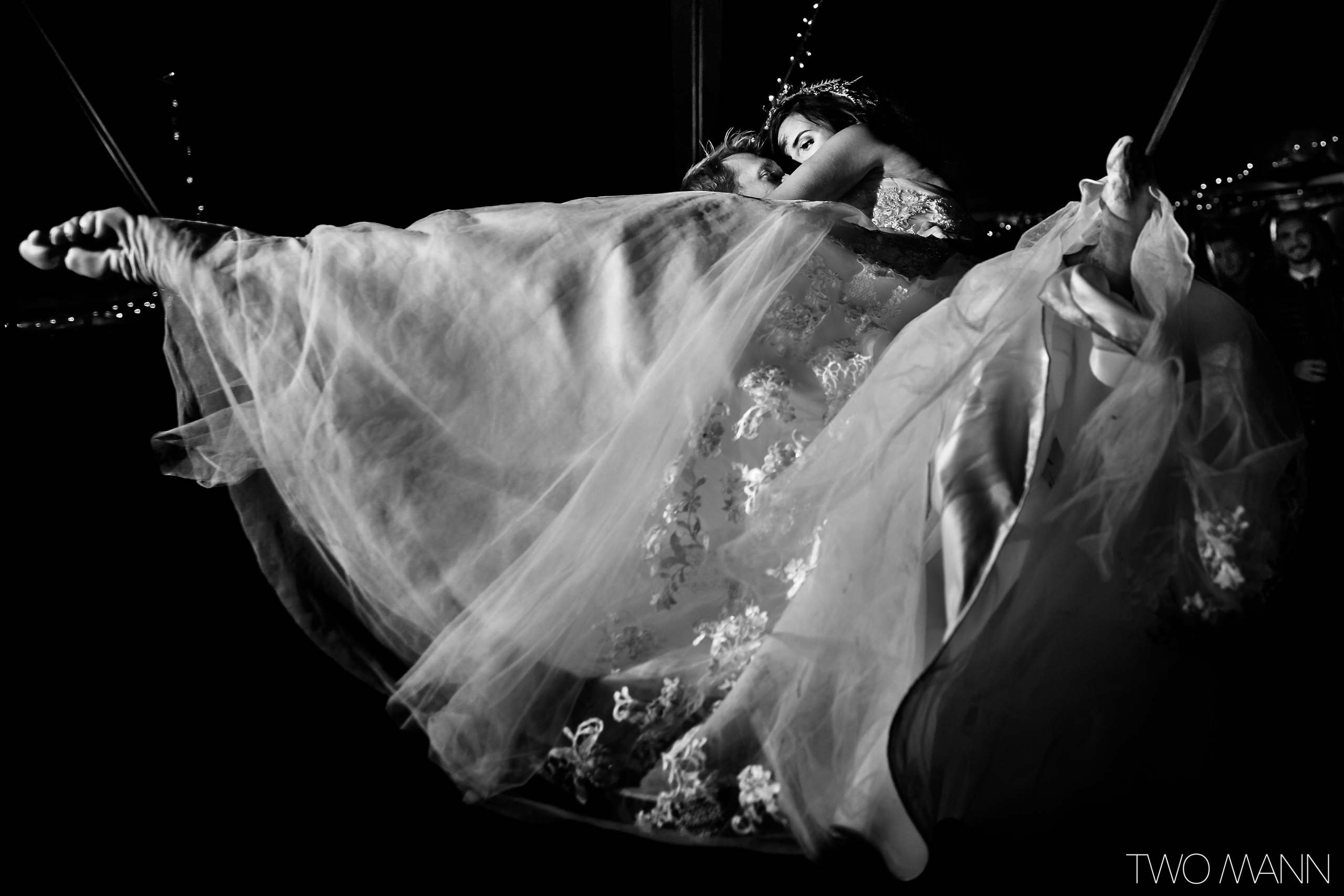 Bride and groom in a whirling dance at reception