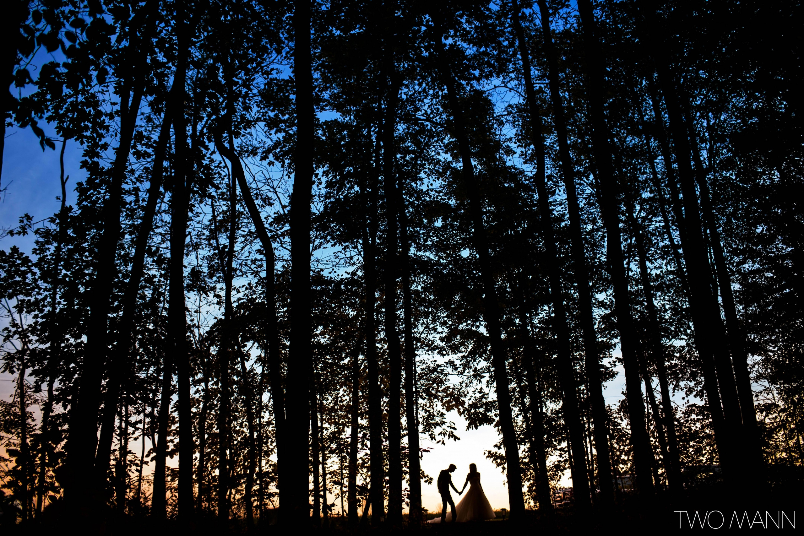 bride and groom walking in a forest in St. Thomas Ontario