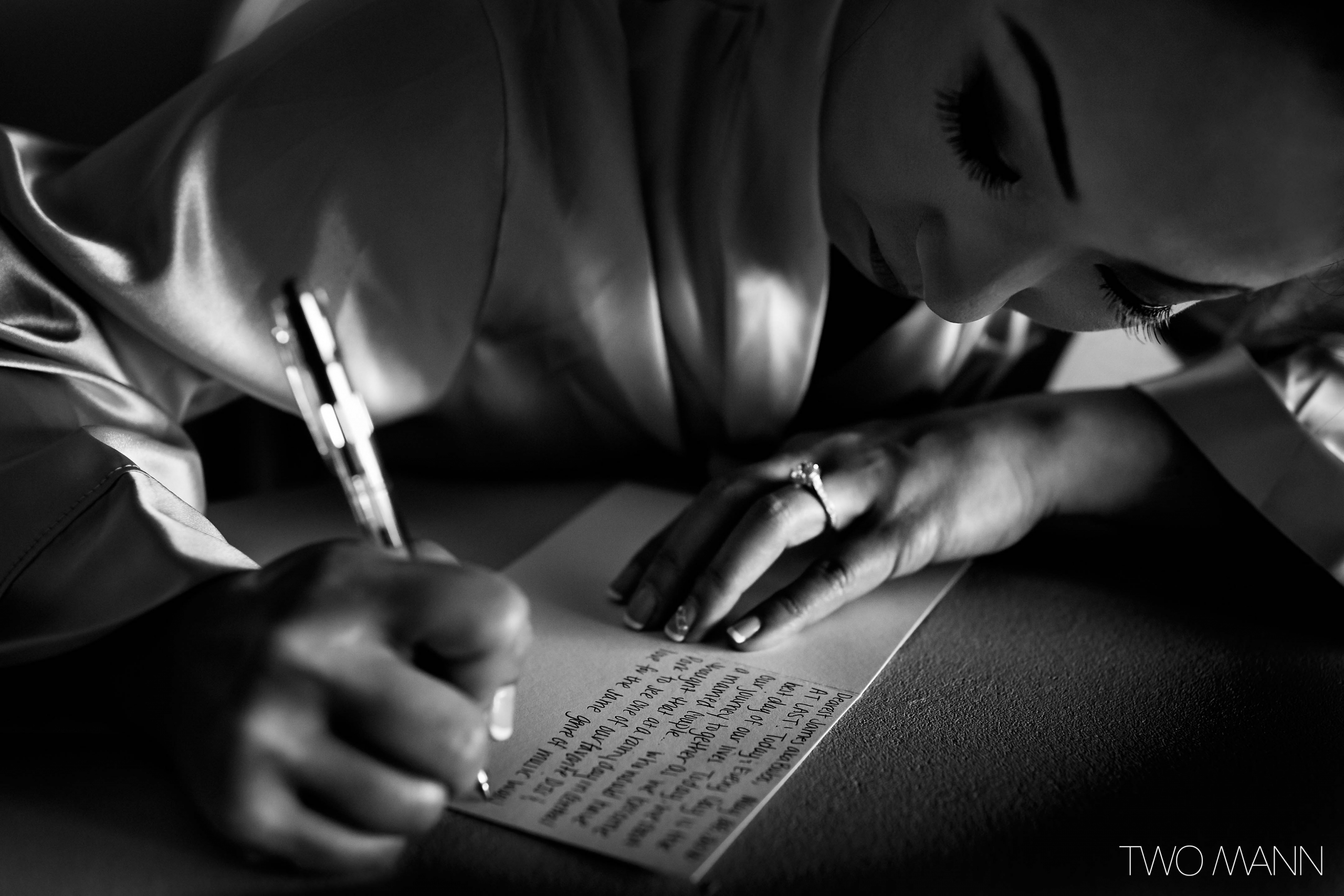 a bride drafting wedding speech