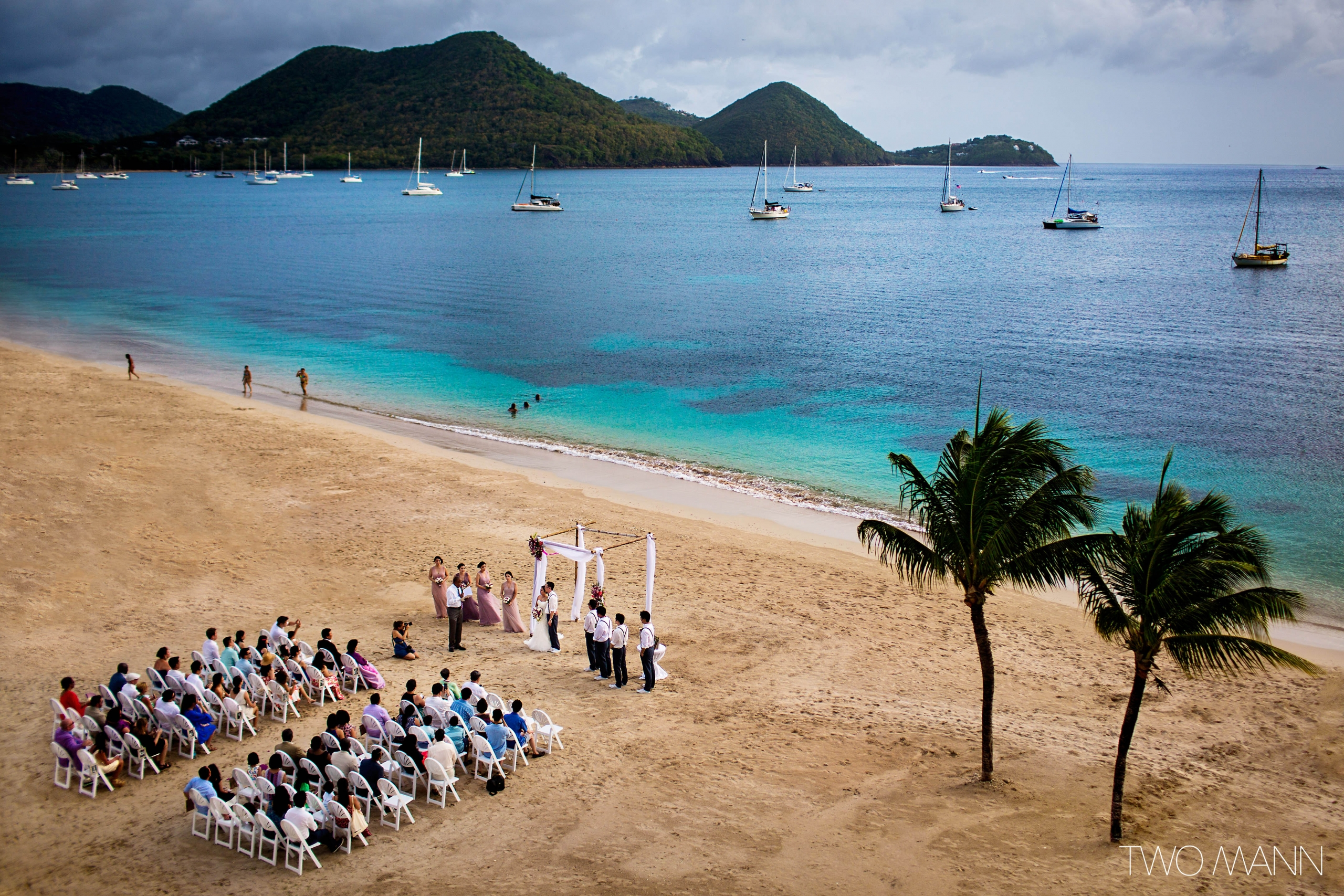 a wedding ceremony on the beach in St. Lucia