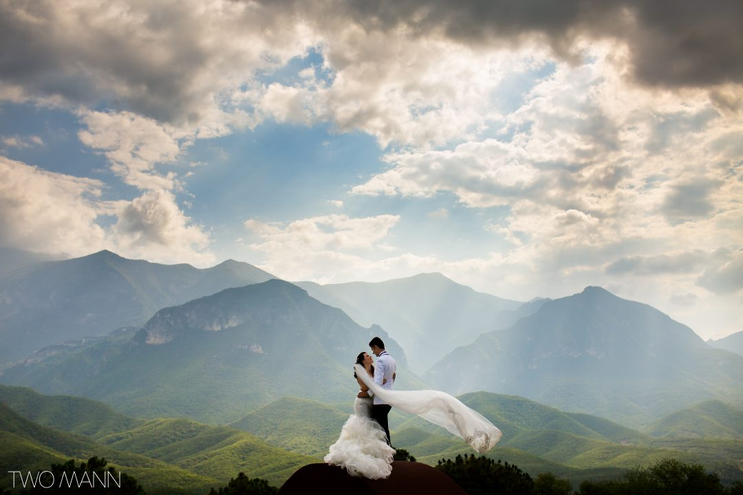 mexican couple embracing on a background of mountains