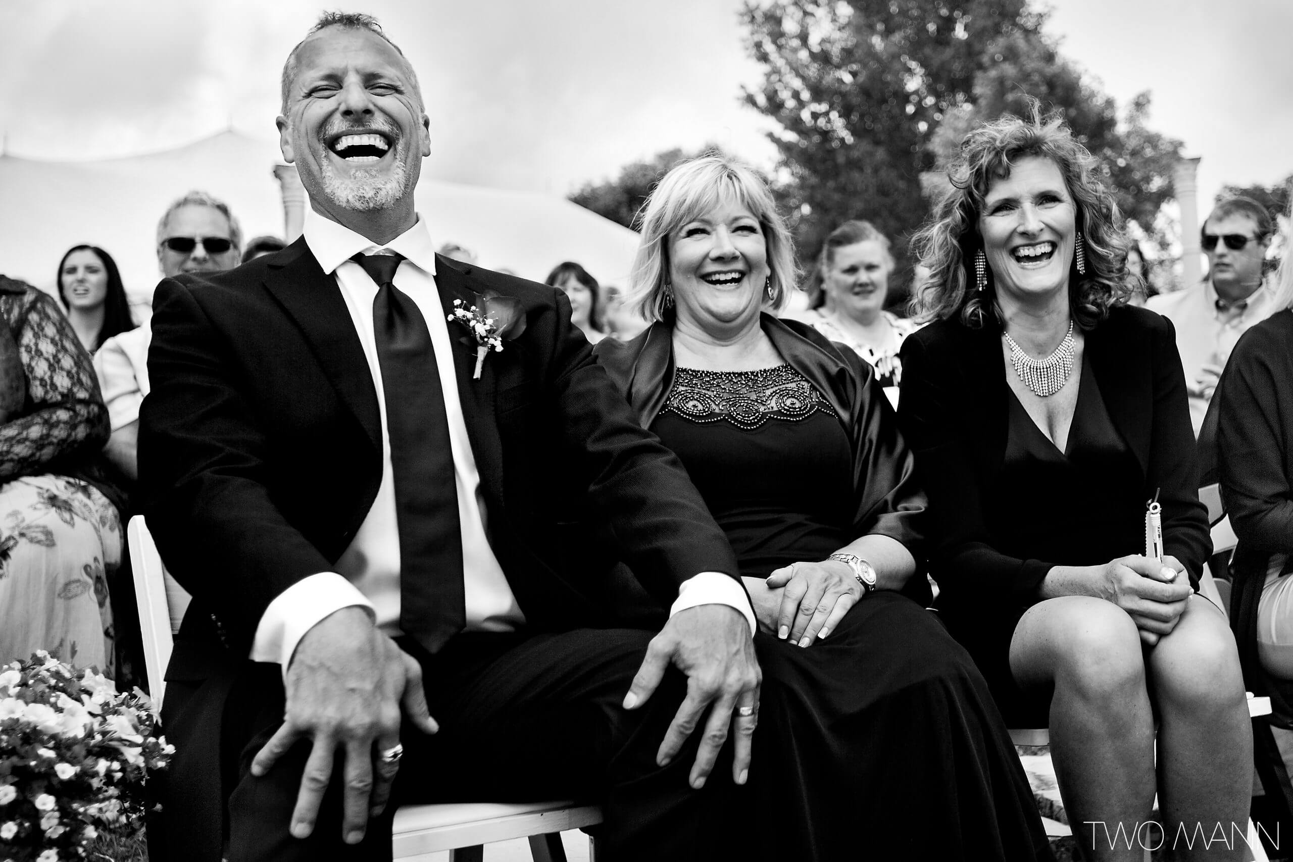 happy parents at wedding ceremony