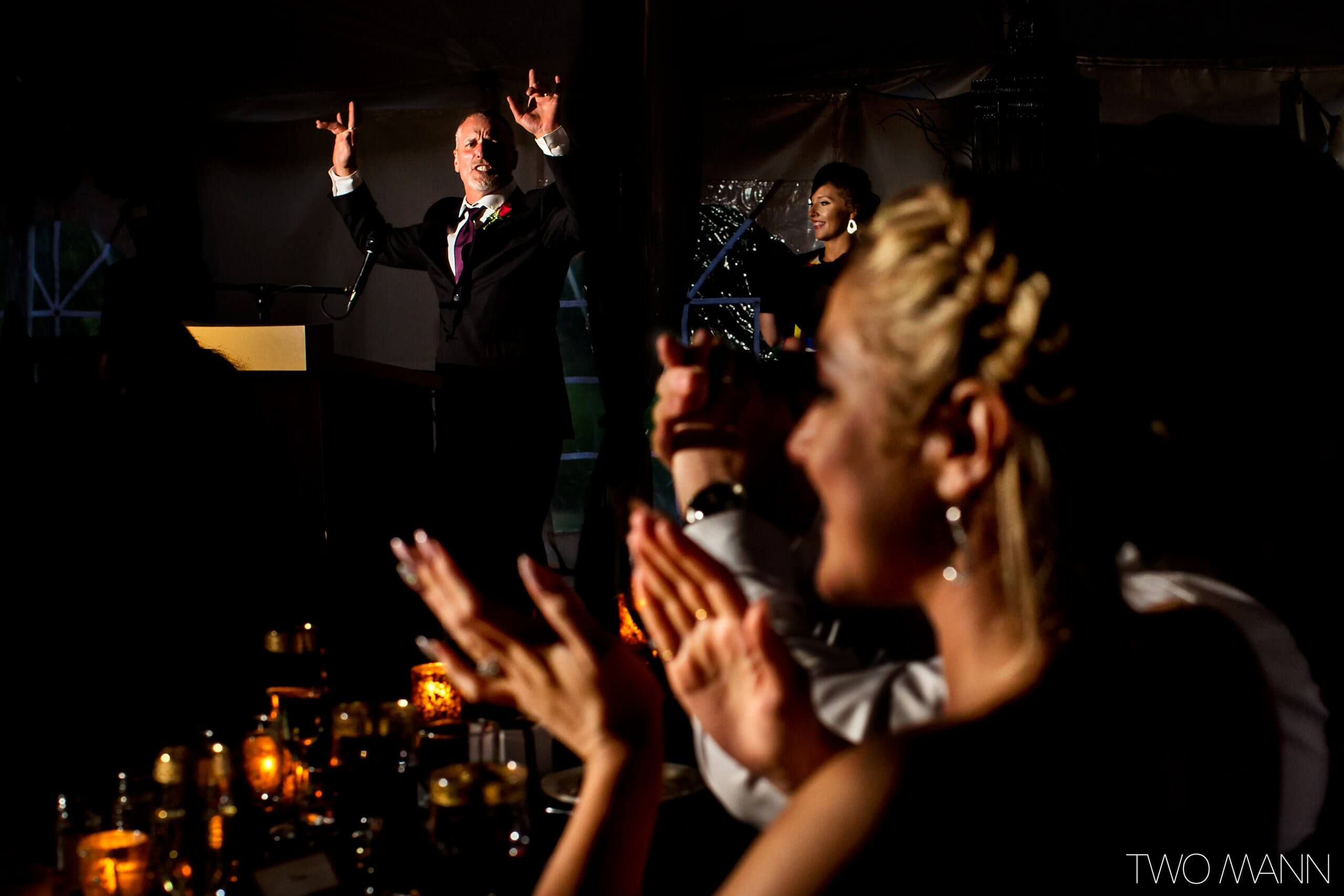 father of the bride toasts at wedding reception