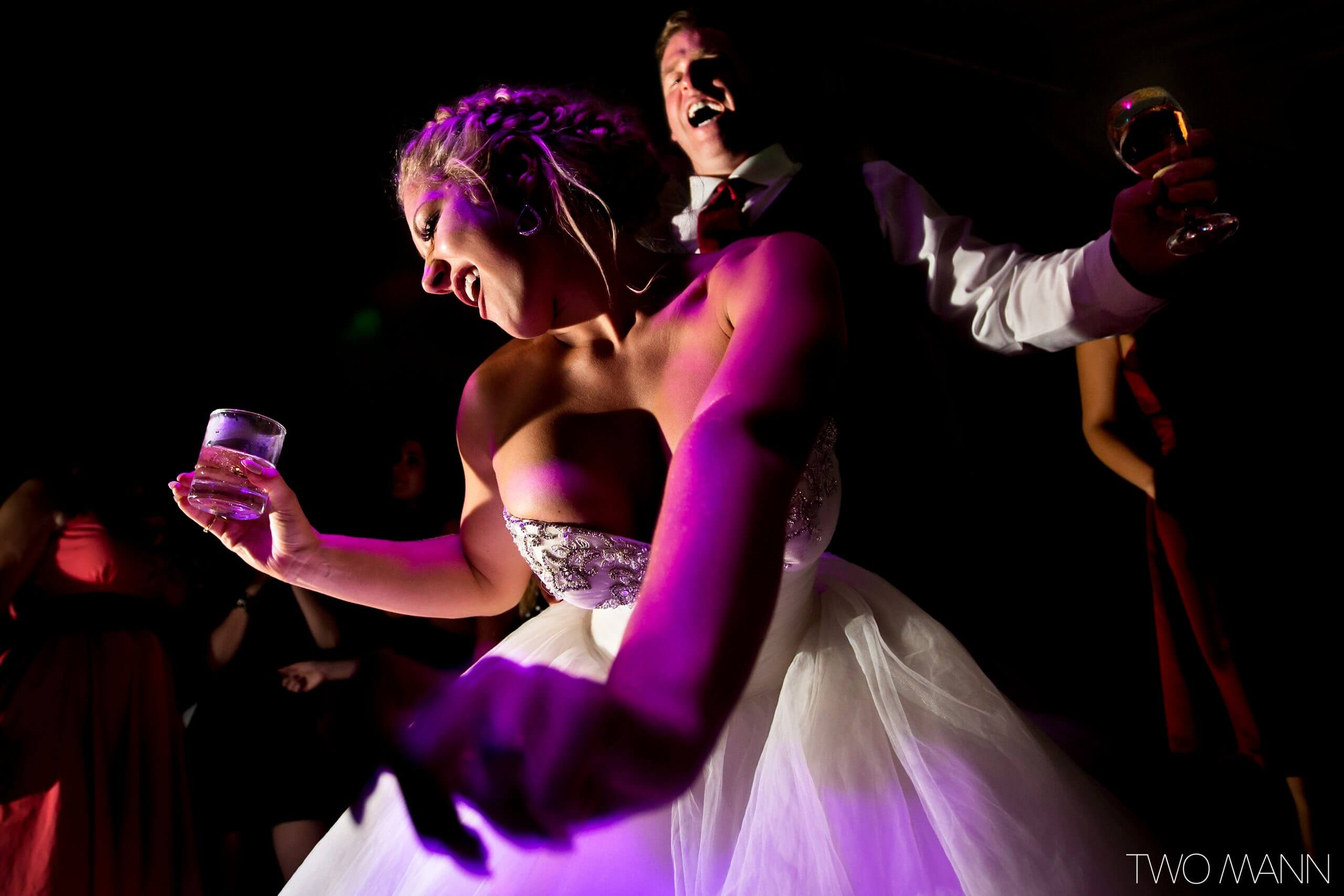bride and groom's excited first dance
