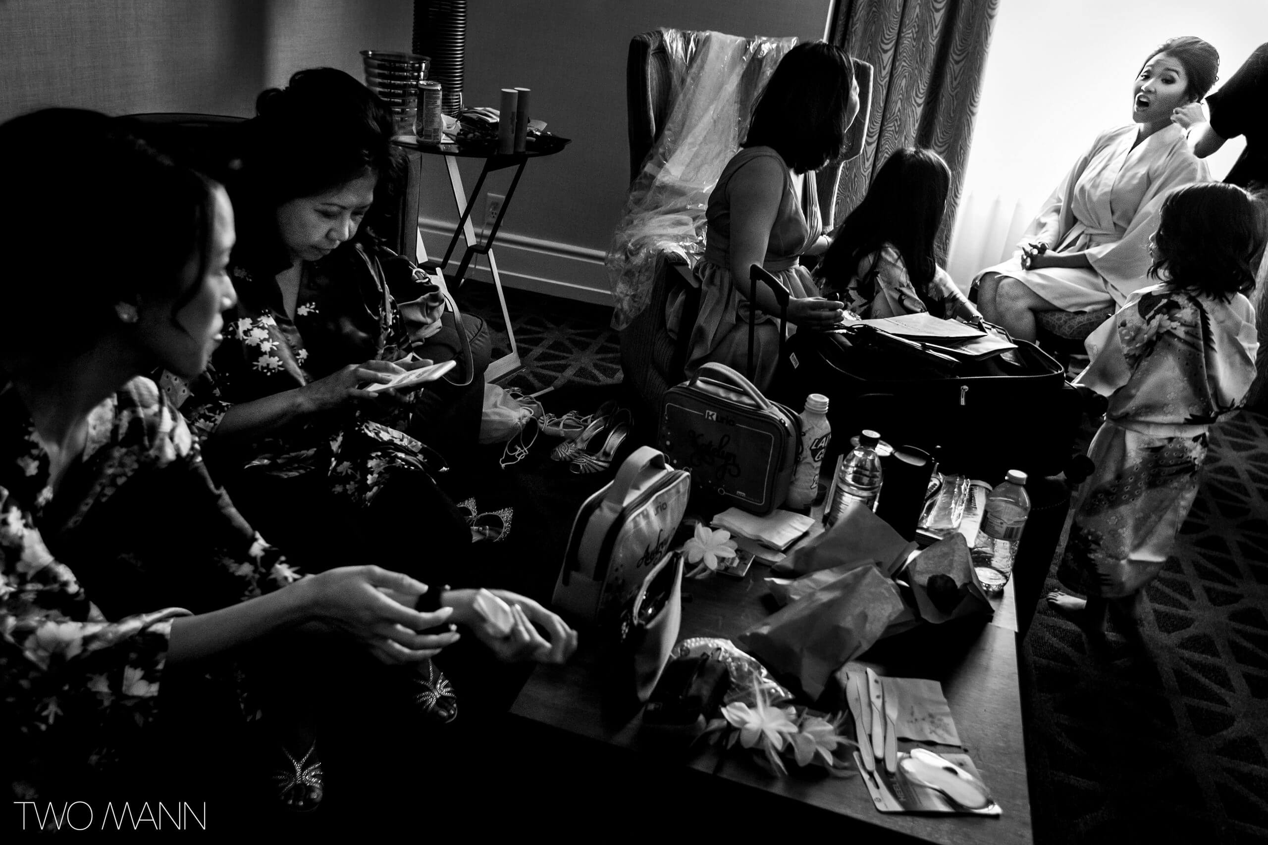 everyone is busy before wedding ceremony