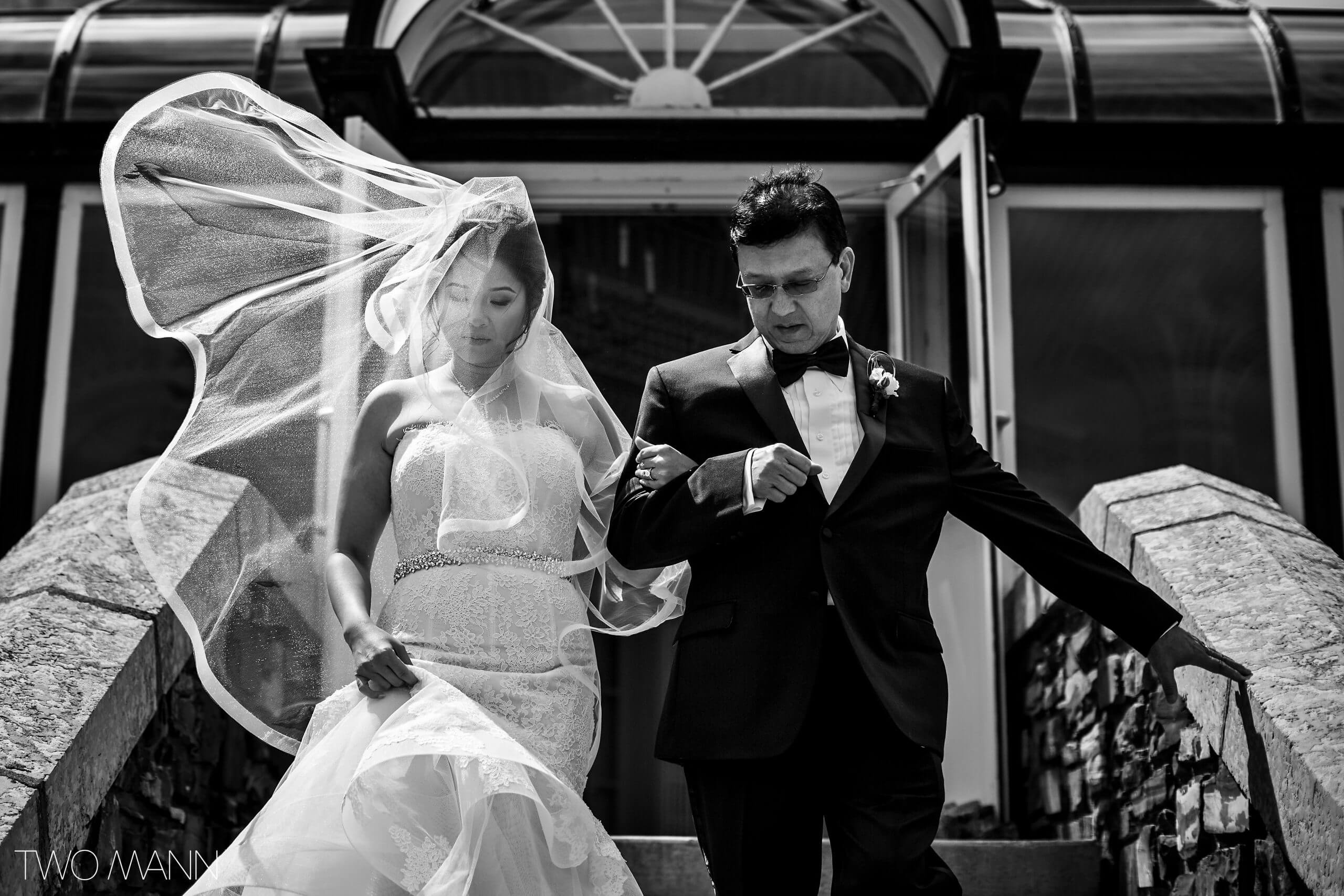 dad walks the bride down the stairs