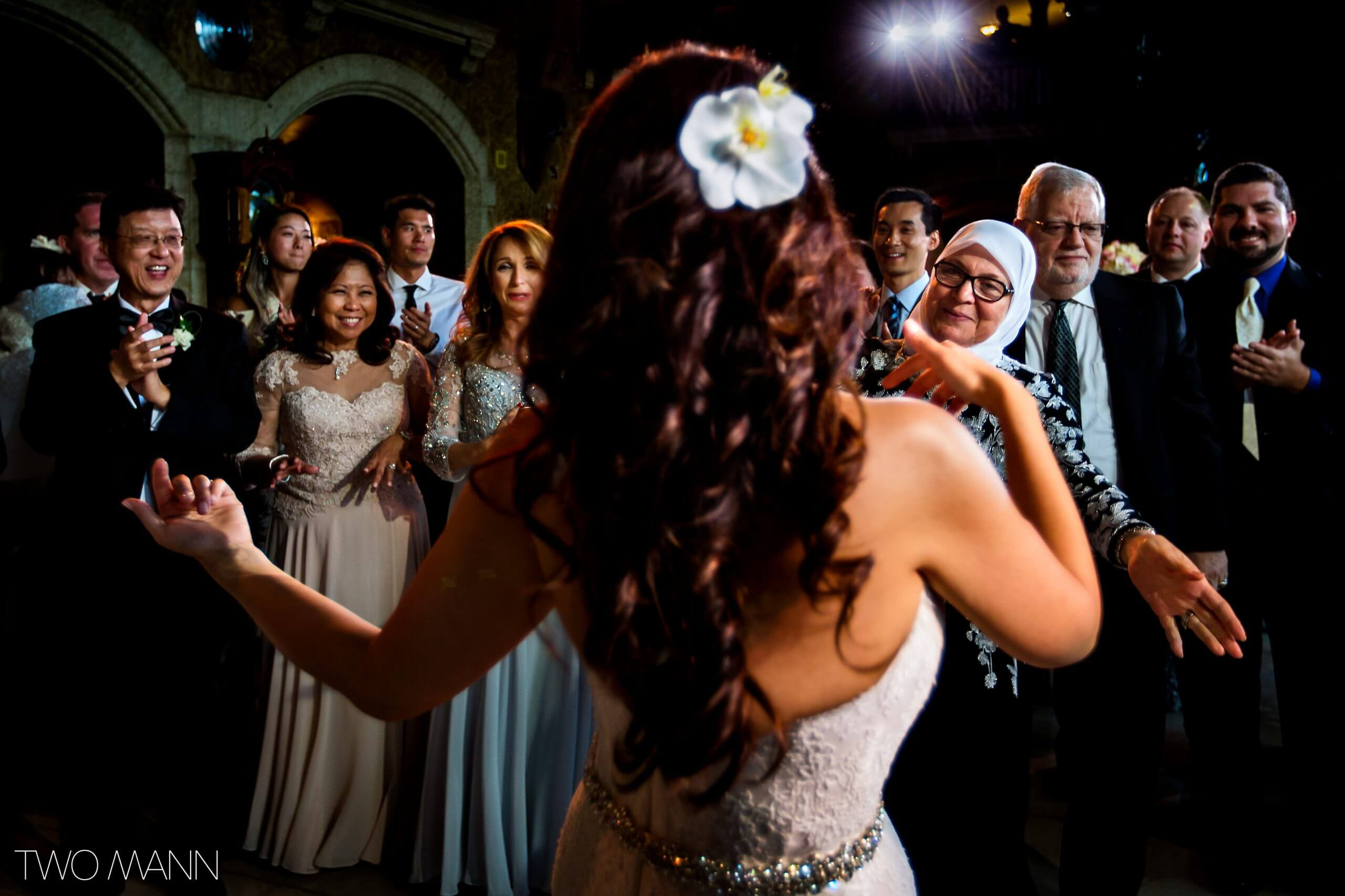 bride greeting friends at the ceremony