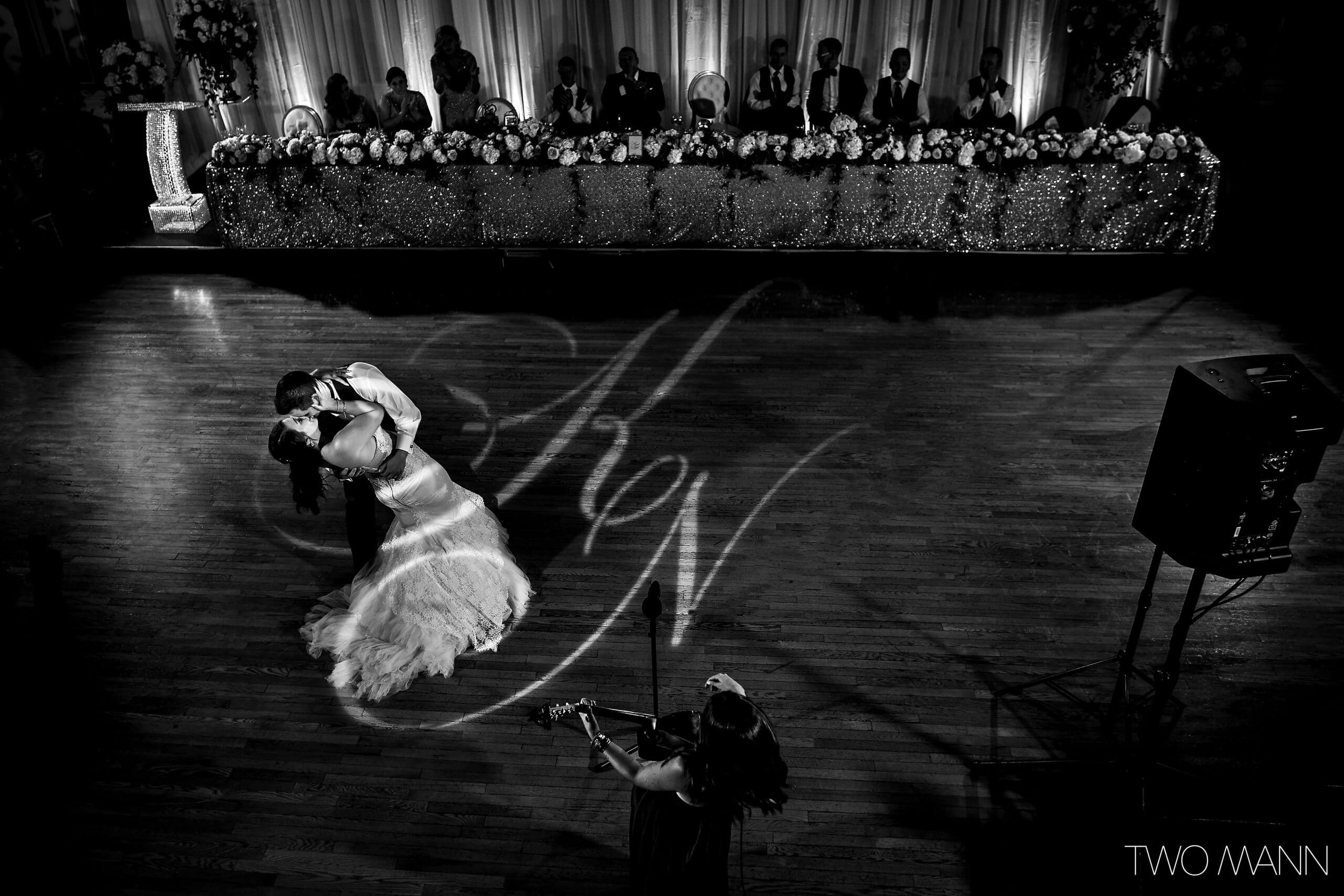 Bride and groom in a whirling dance