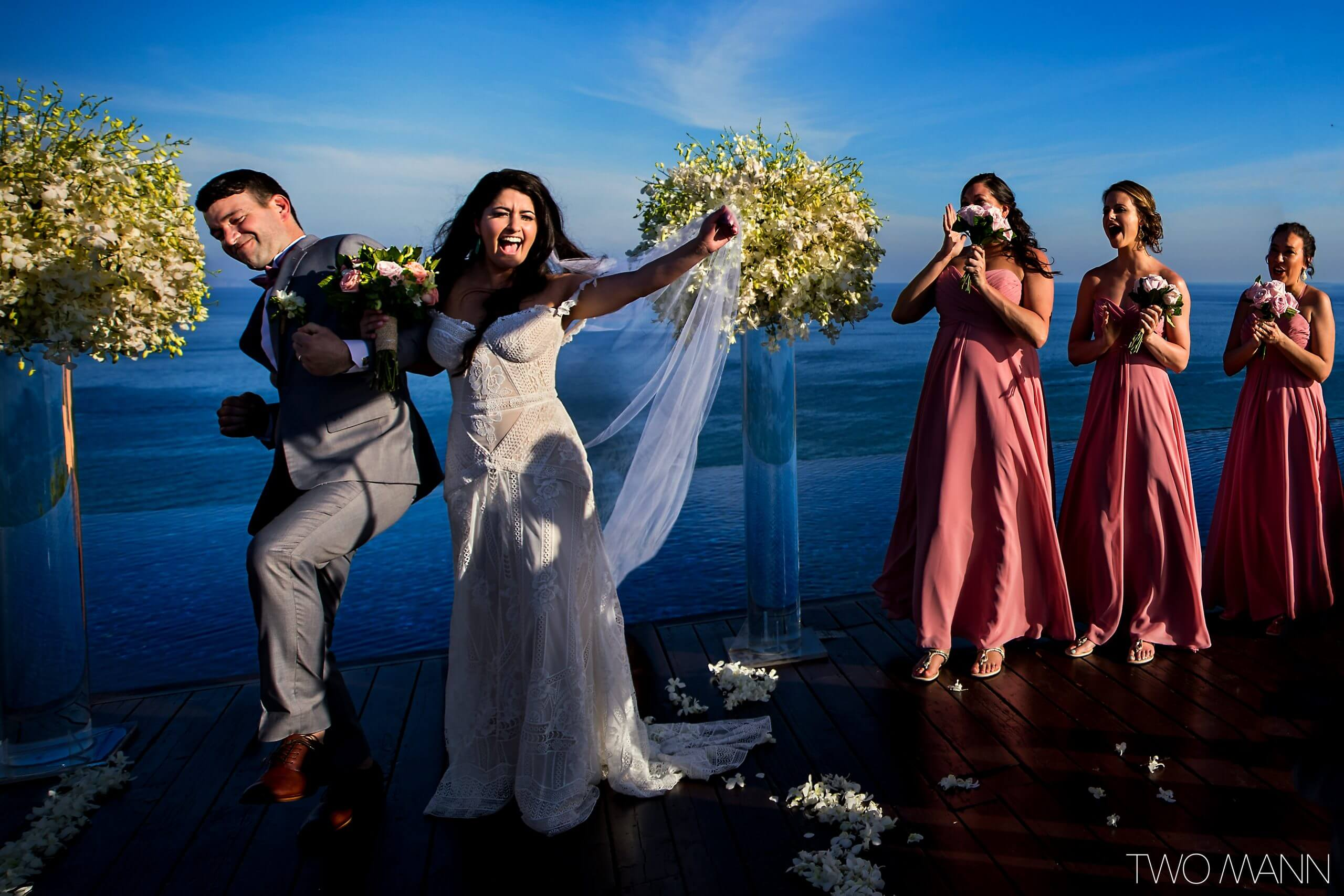 bride and groom enjoy their happy moment