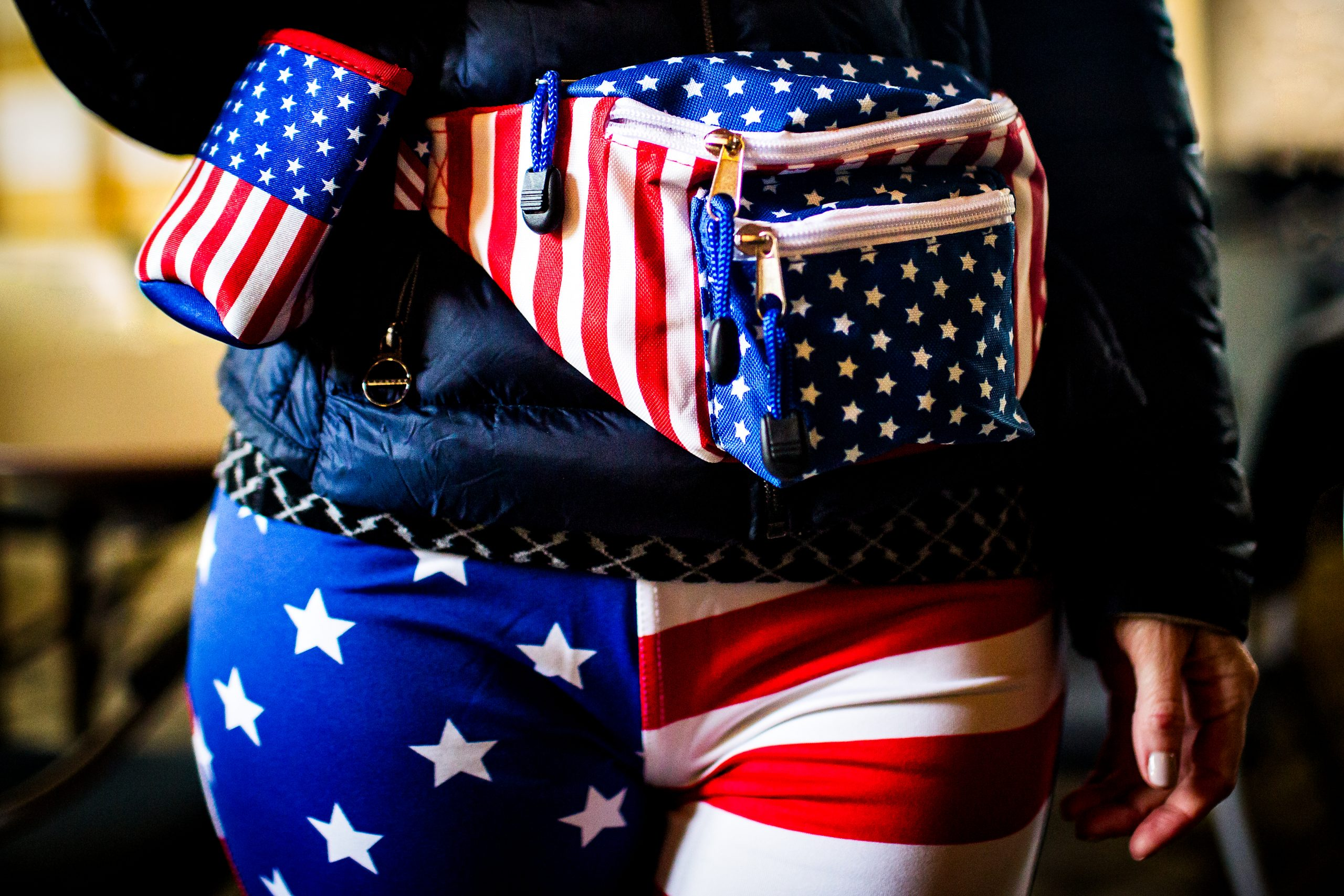 A bride with Stars and Stripes pants and waist bag