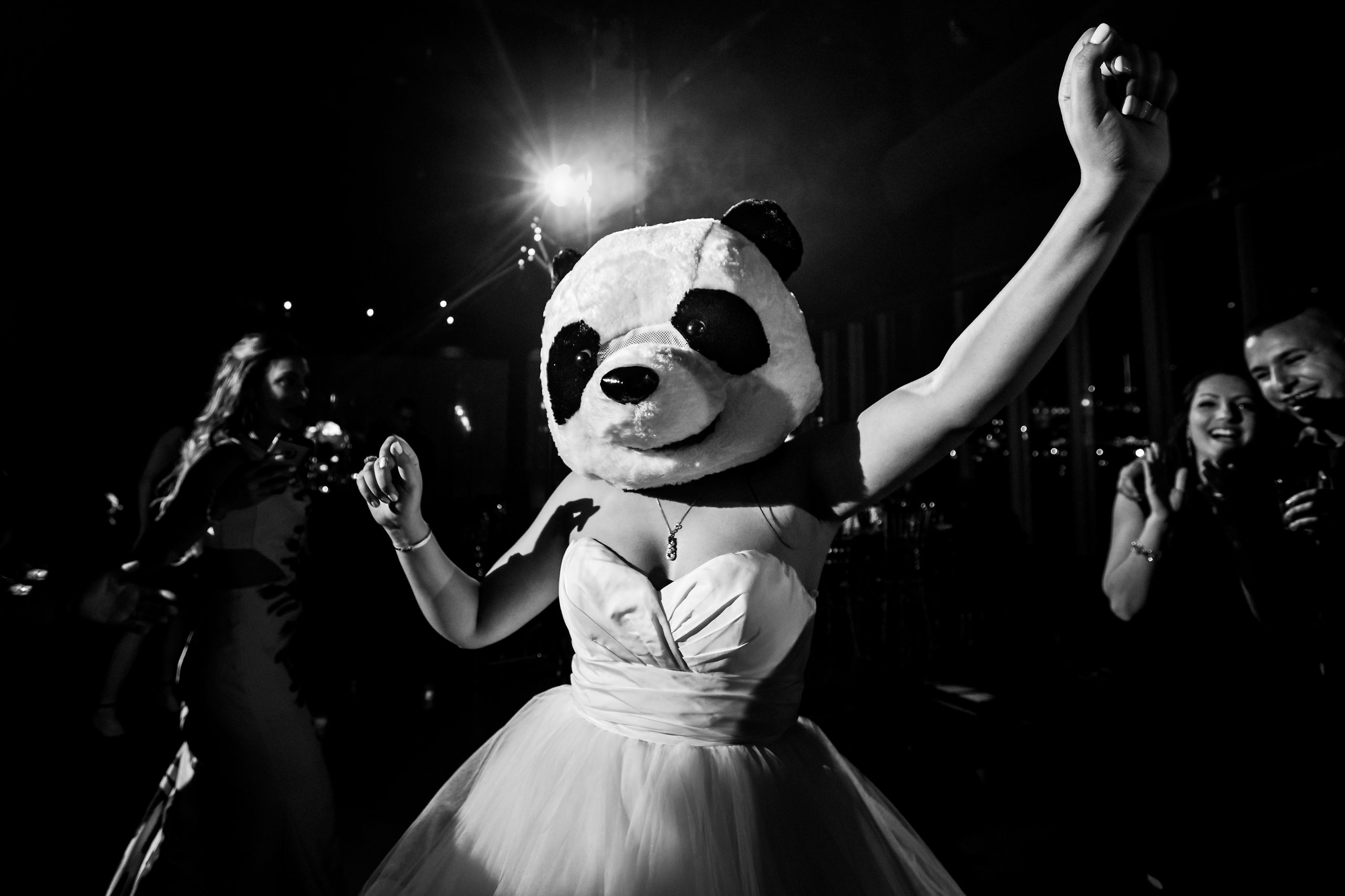 Bride dances while wearing panda costume over head