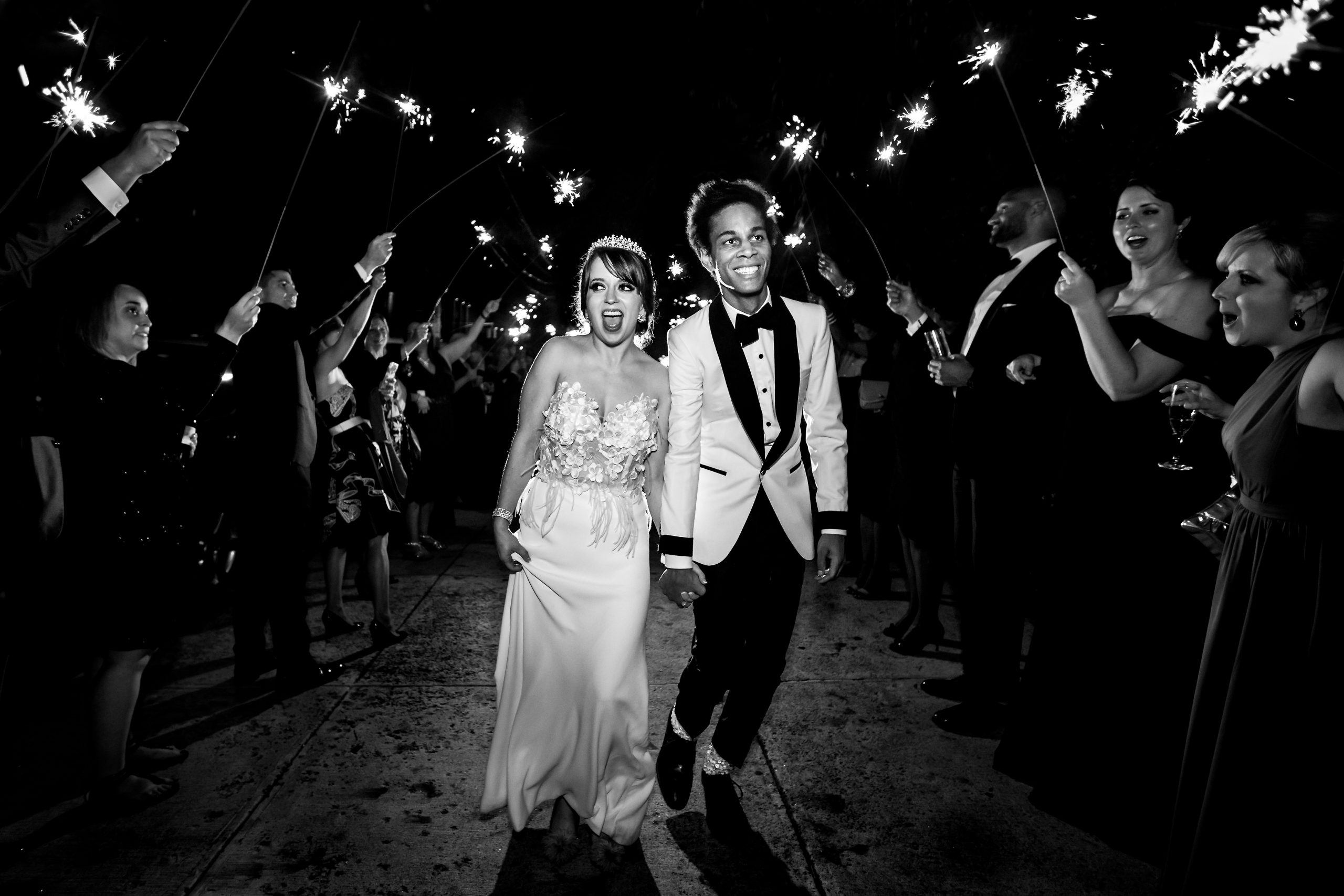 Newlyweds make their entrance to the party