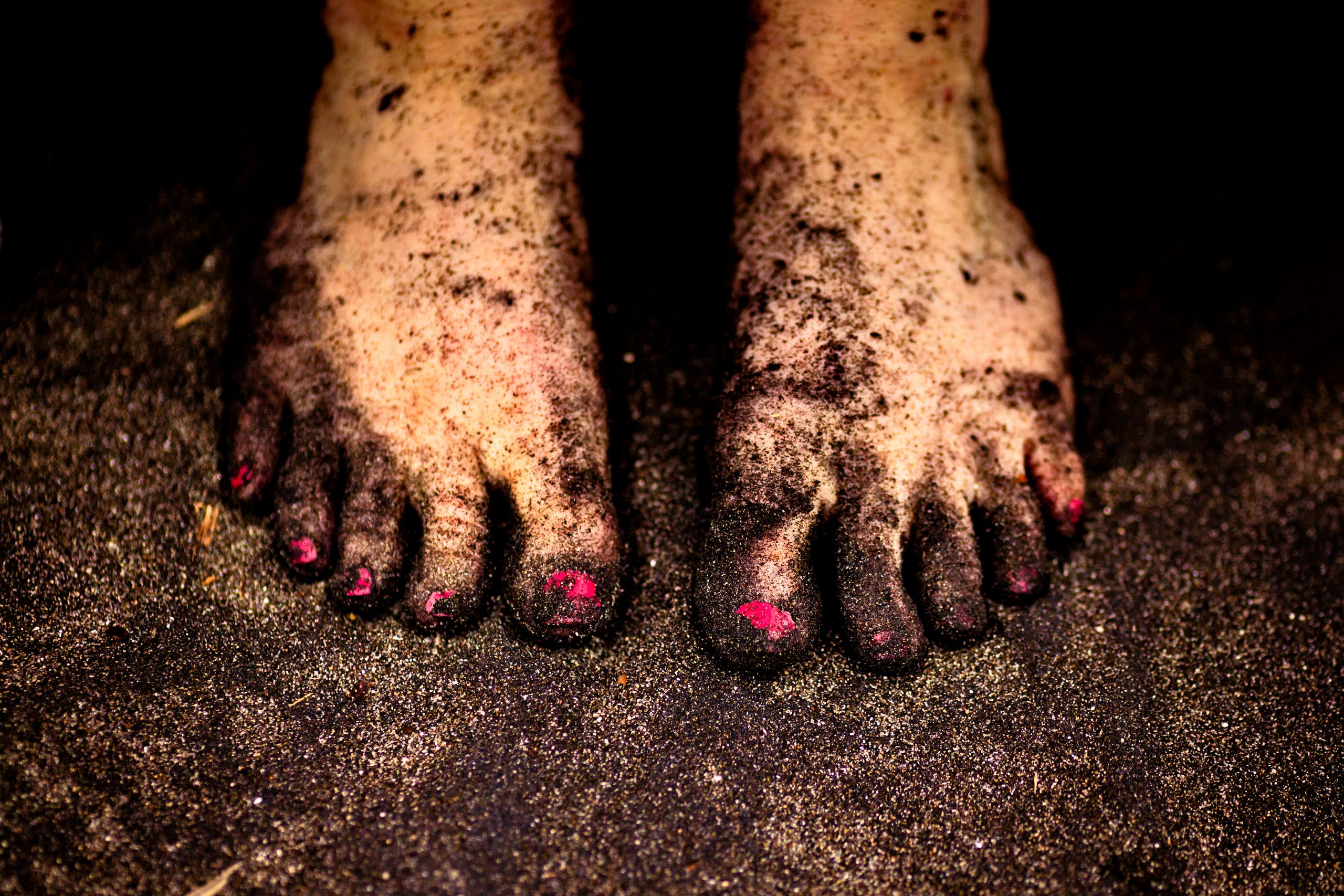 Woman's feet covered with sand on the beach