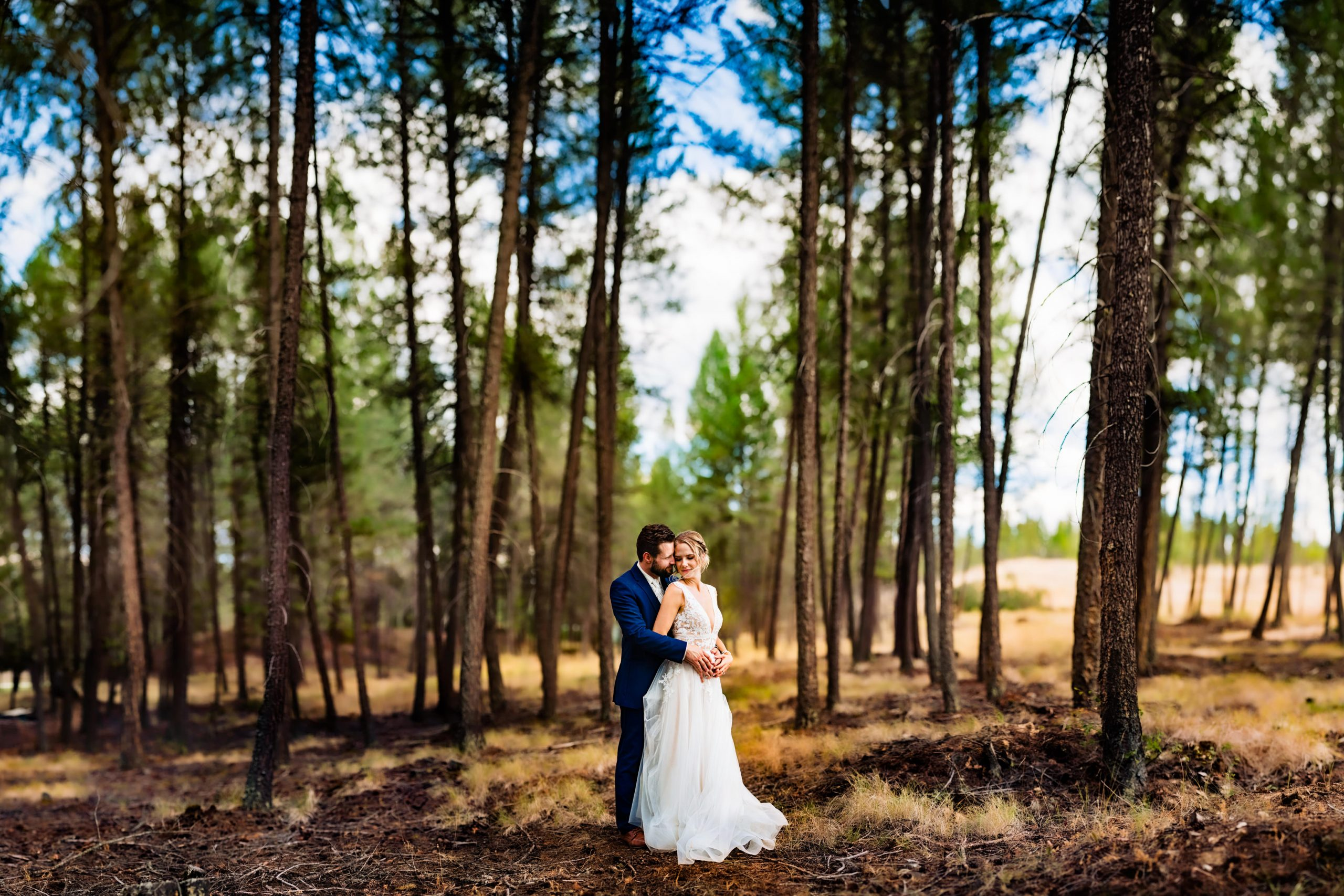 Groom holds the bride in a grove of evergreen trees.