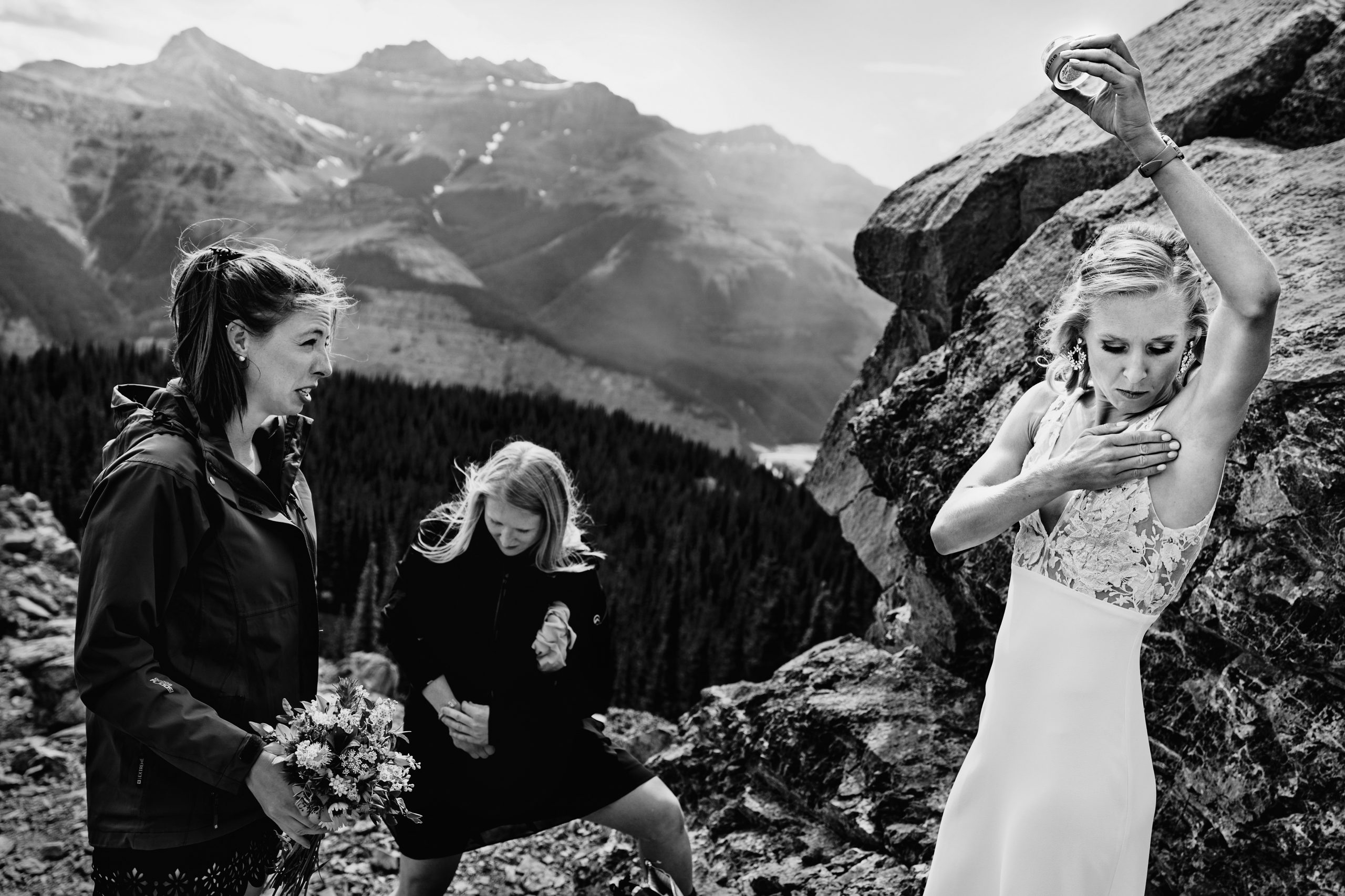 black and white photo of women on a mountain
