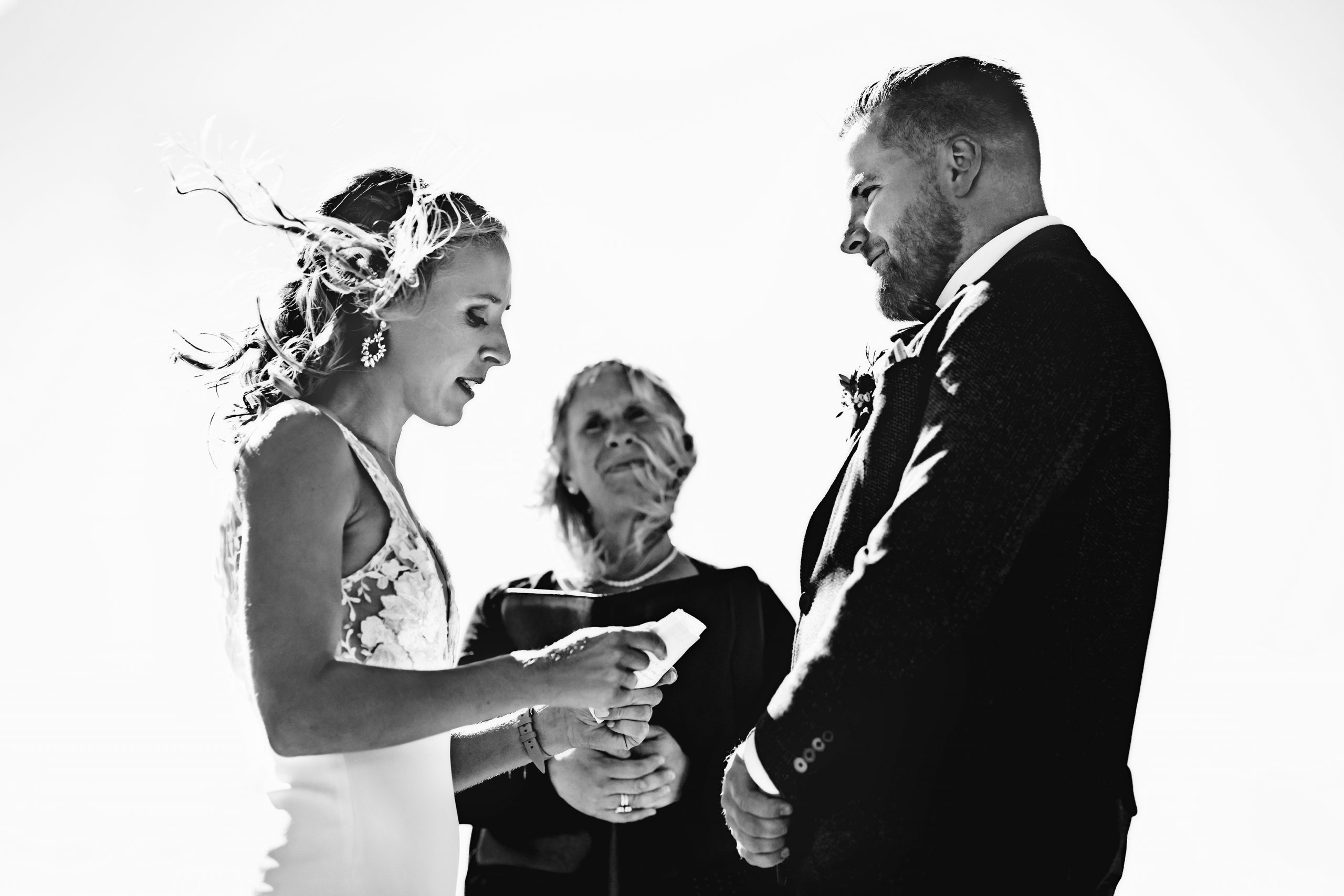 black and white photo of a couple getting married