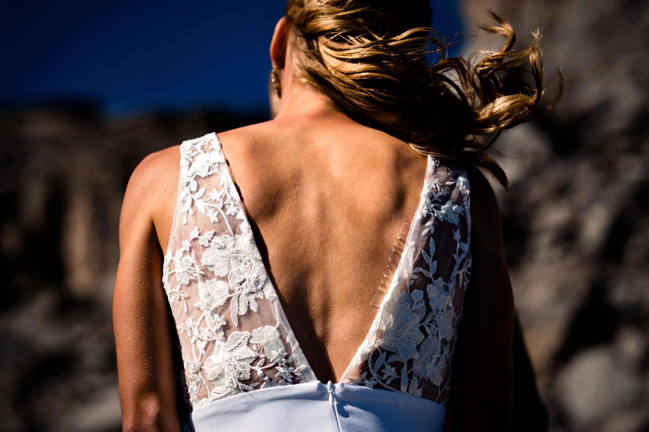 photo of a bride featuring her back